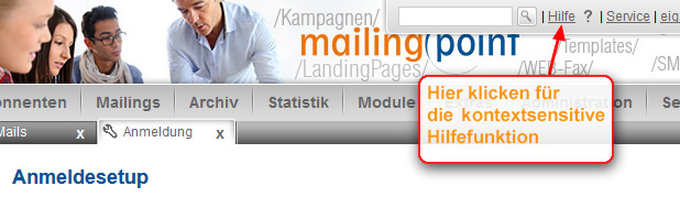 Kontextsensitive Hilfefunktion in mailingpoint